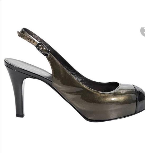a0c8c2642ce0 CHANEL Shoes | Metallic Patent Leather Slingback Pumps | Poshmark